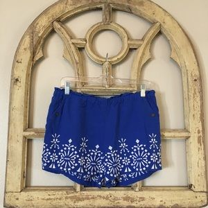 Anthropologie linen embroidered shorts